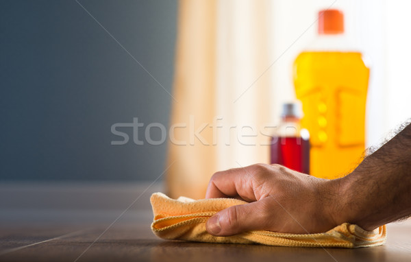 Hardwood floor cleaning and manteinance Stock photo © stokkete