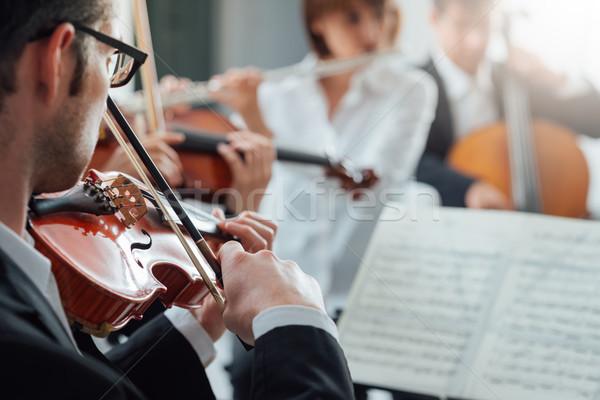 Hegedűművész előad klasszikus zenekar játszik hangszer Stock fotó © stokkete