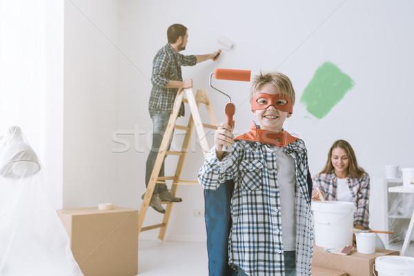 Family doing home renovation Stock photo © stokkete