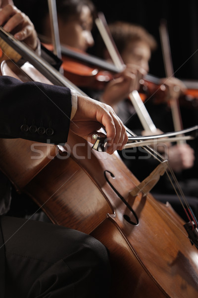 Symphony concert, a man playing the cello, hand close up Stock photo © stokkete