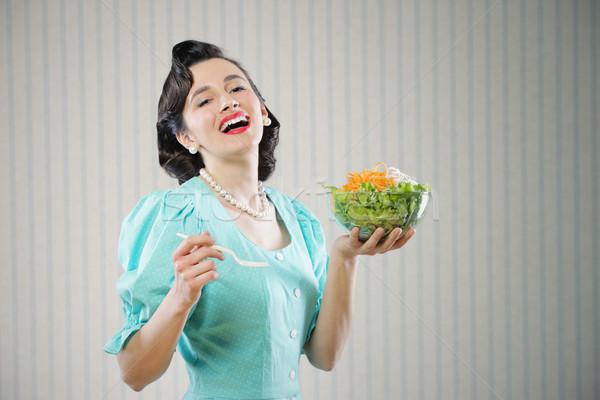 Diéta portré lány néz pozitív tart Stock fotó © stokkete