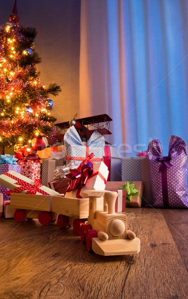Fából készült vonat karácsony ajándék fa játék különleges Stock fotó © stokkete