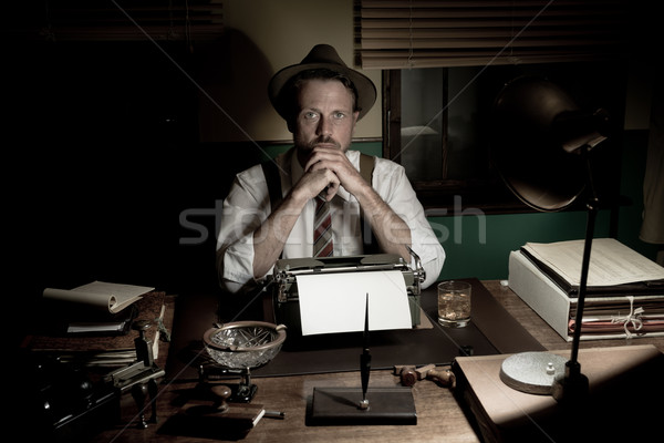 1950s journalist working late at night Stock photo © stokkete