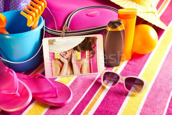 Foto stock: Férias · fotos · comprimido · férias · toalha
