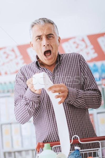Pahalı bakkal adam alışveriş süpermarket uzun Stok fotoğraf © stokkete