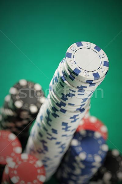 Póker zsetonok póker blackjack sültkrumpli kék fekete Stock fotó © stokkete