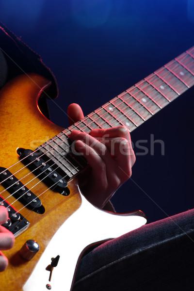 Stock fotó: Gitáros · tevékenység · színpad · közelkép · gitár · fény