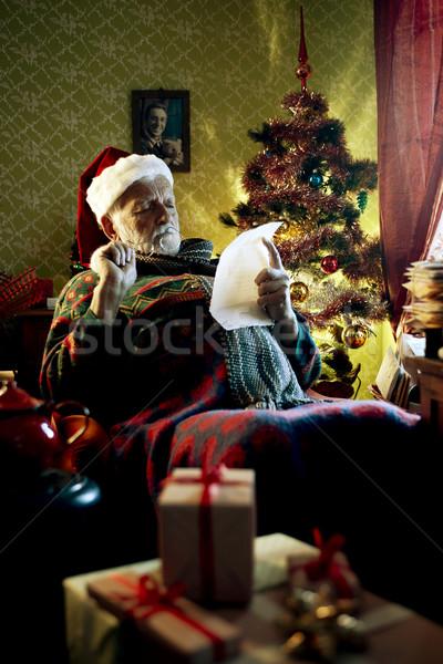 Foto stock: Papai · noel · retrato · pai · natal · sessão · poltrona