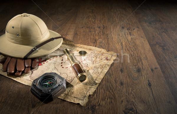 древних Карта сокровищ старые колониальный стиль Hat Сток-фото © stokkete