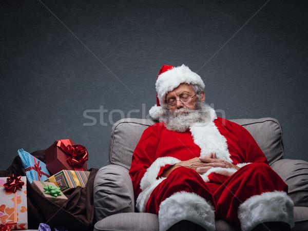 Święty mikołaj drzemka senny relaks fotel Zdjęcia stock © stokkete