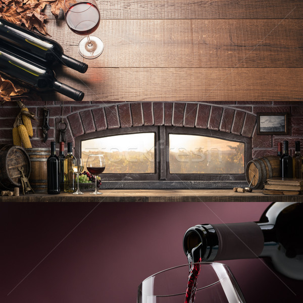 Borkészítés borkóstolás pince bor áramló üveg Stock fotó © stokkete