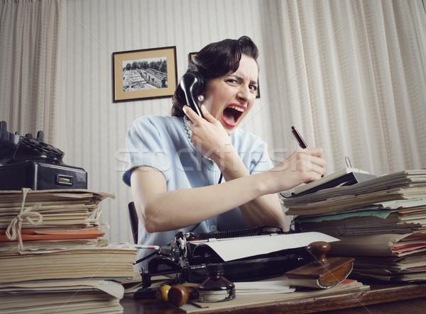 ストックフォト: 女性 · 電話 · 女性実業家 · 座って