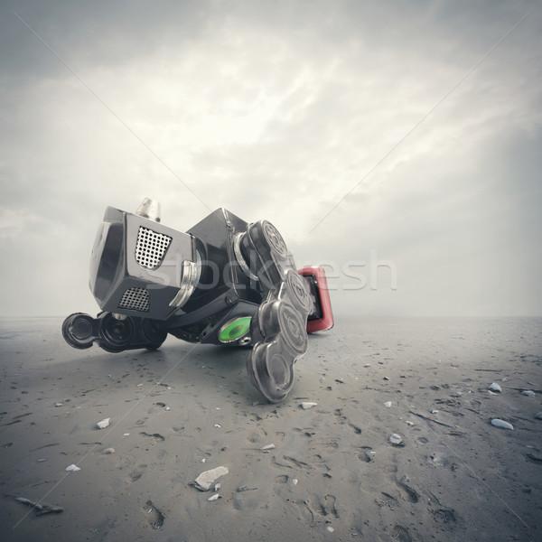 Retro tin robot speelgoed strand achtergrond Stockfoto © stokkete