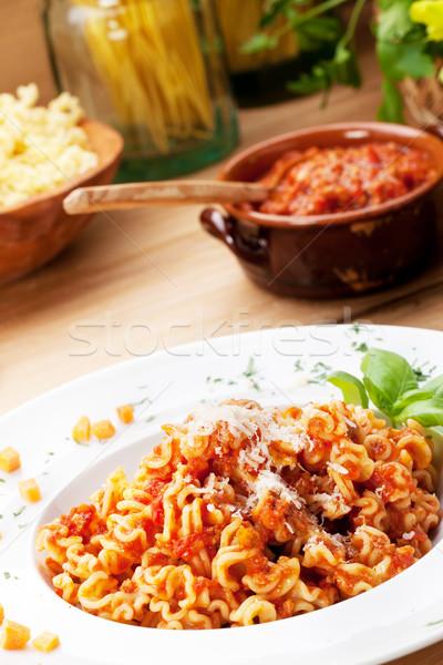 Pasta tomatensaus Italiaans eten parmezaanse kaas voedsel plaat Stockfoto © stokkete