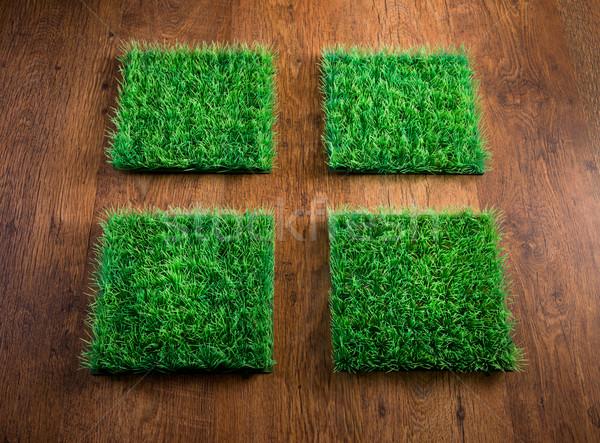 Mesterséges tőzeg csempék négy keményfa padló környezeti Stock fotó © stokkete