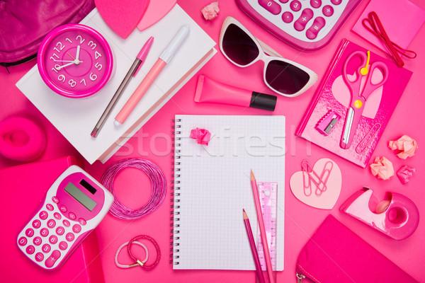 Rosa escritorio papelería cuaderno lápiz estudiante Foto stock © stokkete