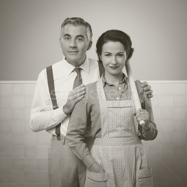Happy vintage couple at home Stock photo © stokkete