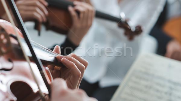 скрипач этап оркестра классическая музыка симфония Сток-фото © stokkete