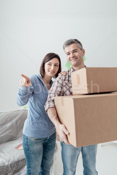 情侶 移動 女子 指向 男子 商業照片 © stokkete