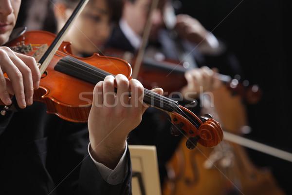 Klasszikus zene koncert szimfónia zene hegedűművész kéz Stock fotó © stokkete