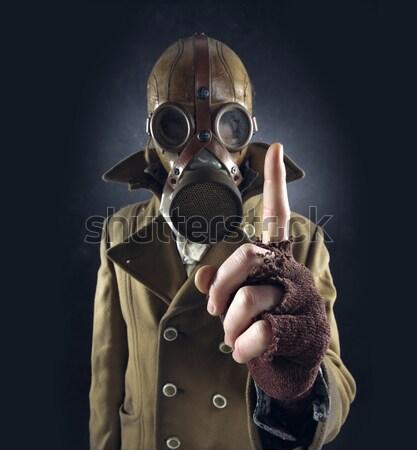 Grunge portre adam gaz maskesi lanet imzalamak Stok fotoğraf © stokkete