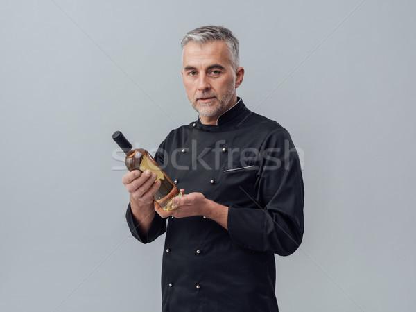Stockfoto: Wijn · cultuur · professionele · chef