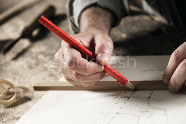 плотник рук мнение красный Сток-фото © stokkete