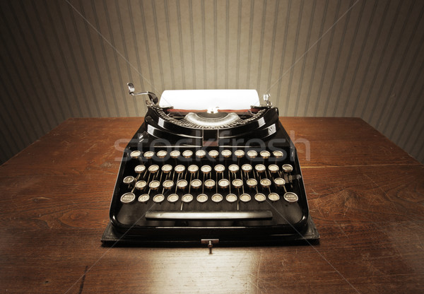 Stock photo: Old typewriter on a wooden desk
