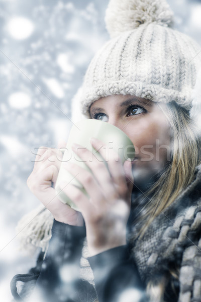 Сток-фото: день · зима · одежды · горячий · напиток