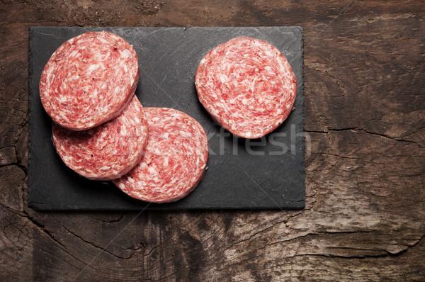 Cocina italiana carne rebanadas frescos salami bordo Foto stock © stokkete