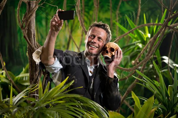 Schedel jungle zakenman zelfportret menselijke Stockfoto © stokkete