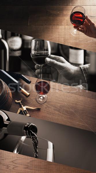 Cata de vinos bodega excelente vino tinto degustación Foto stock © stokkete