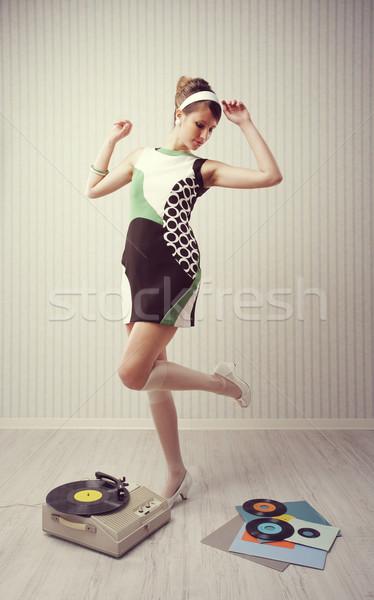 Klasszikus lány fiatal nő tánc otthon 1960 Stock fotó © stokkete