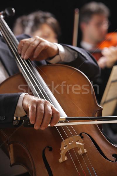 Muzyka klasyczna wiolonczelista symfonia koncertu człowiek gry Zdjęcia stock © stokkete