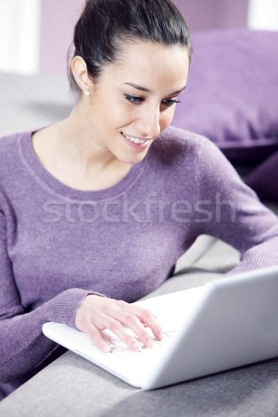 домой рабочих ноутбука компьютер женщины Сток-фото © stokkete