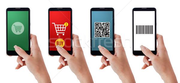 Zakupy aplikacje zestaw kobiet ręce Zdjęcia stock © stokkete