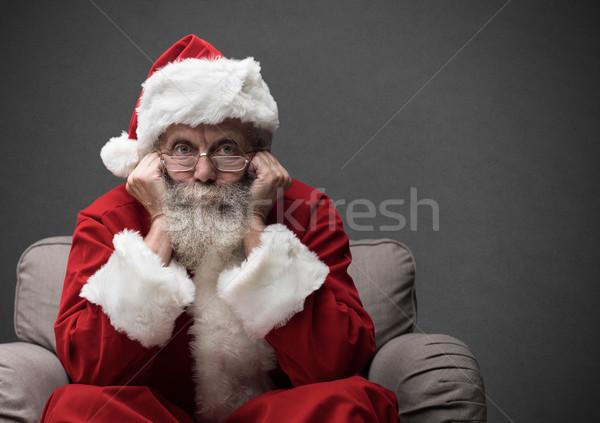 Babbo natale attesa Natale seduta poltrona riposo Foto d'archivio © stokkete