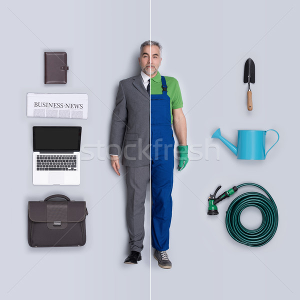 Businessman and gardener dolls comparison Stock photo © stokkete