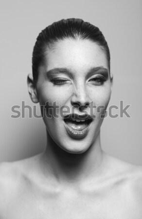 Portret piękna kobieta czarno białe Fotografia kobieta Zdjęcia stock © stokkete