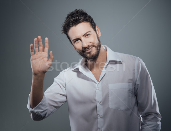 Bel homme accueil main réunion mode Photo stock © stokkete