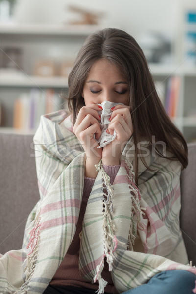 Sick woman with flu Stock photo © stokkete
