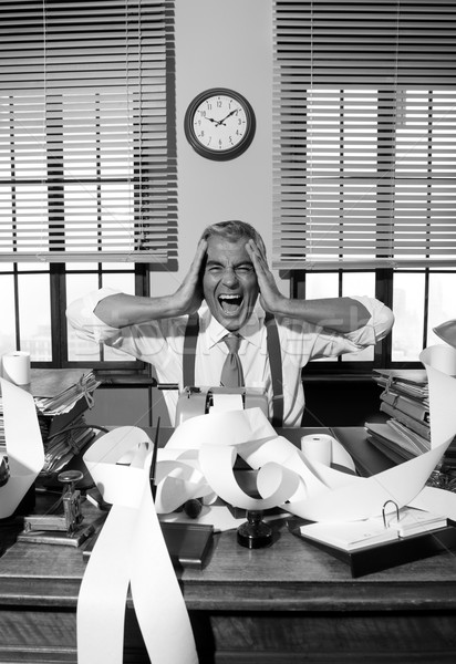 Desperate accountant shouting head in hands in vintage office Stock photo © stokkete