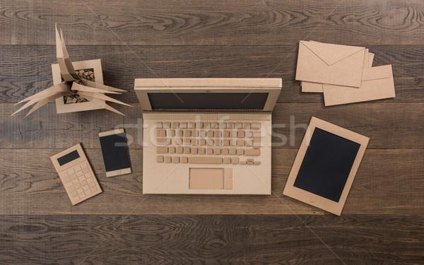 Creative eco friendly cardboard office Stock photo © stokkete