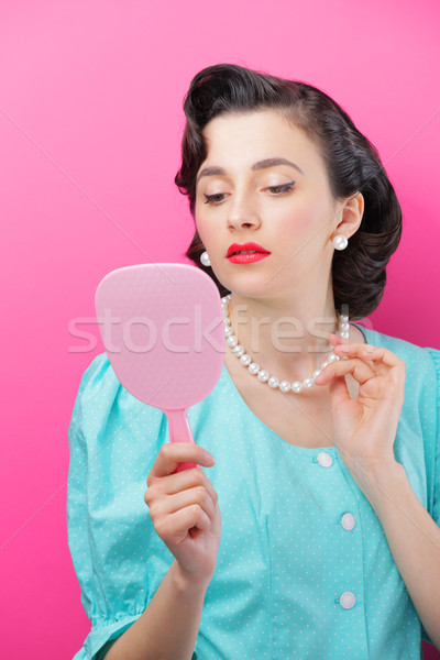 虚栄心 若い女性 見える 顔 ミラー 女性 ストックフォト © stokkete