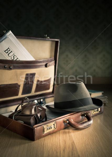 Phoreporter vintage briefcase Stock photo © stokkete