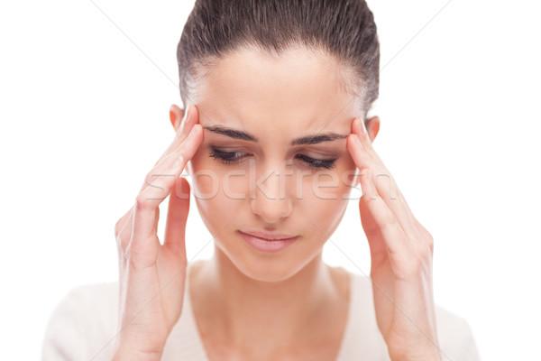 Bella donna mal di testa bella toccare ragazza Foto d'archivio © stokkete