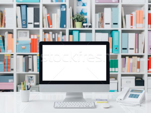 Сток-фото: профессиональных · современный · workspace · компьютер · красочный
