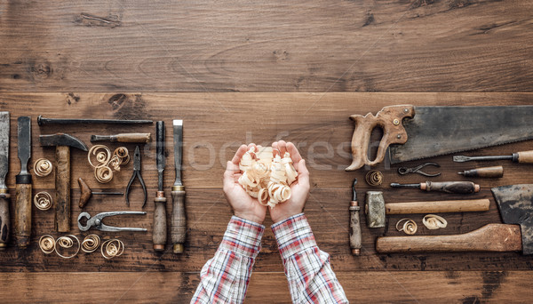 Carpenter holding wood shavings Stock photo © stokkete