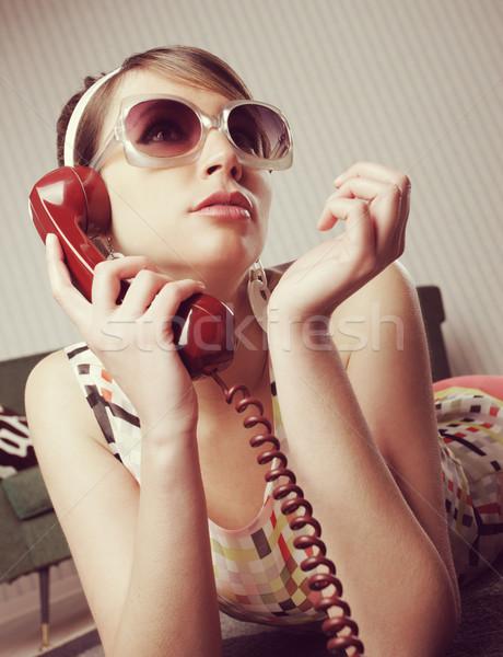 Divat modell beszél telefon otthon nő Stock fotó © stokkete