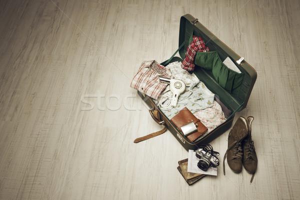Packed Vintage Suitcase Stock photo © stokkete